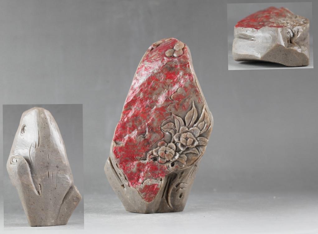 中国古美術 寿山石 鶏血石 細工彫花紋 置物!直径7.5 cm、高さ13.5 cm _画像1