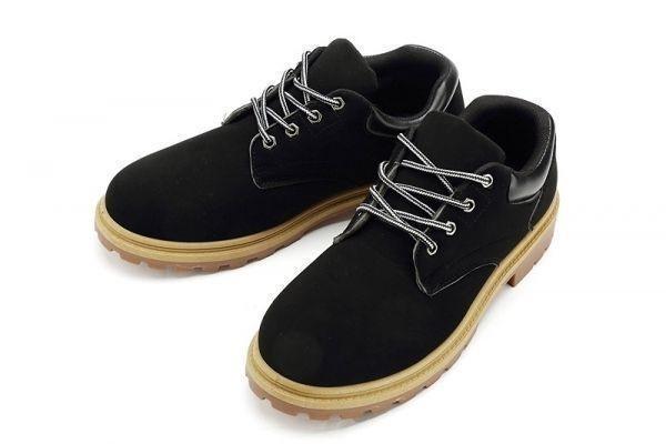 メンズ ローカットブーツイエローブーツワークブーツ マウンテンブーツ 滑り止め 通勤 通学 (16436) ブラック 24.5cm_画像2