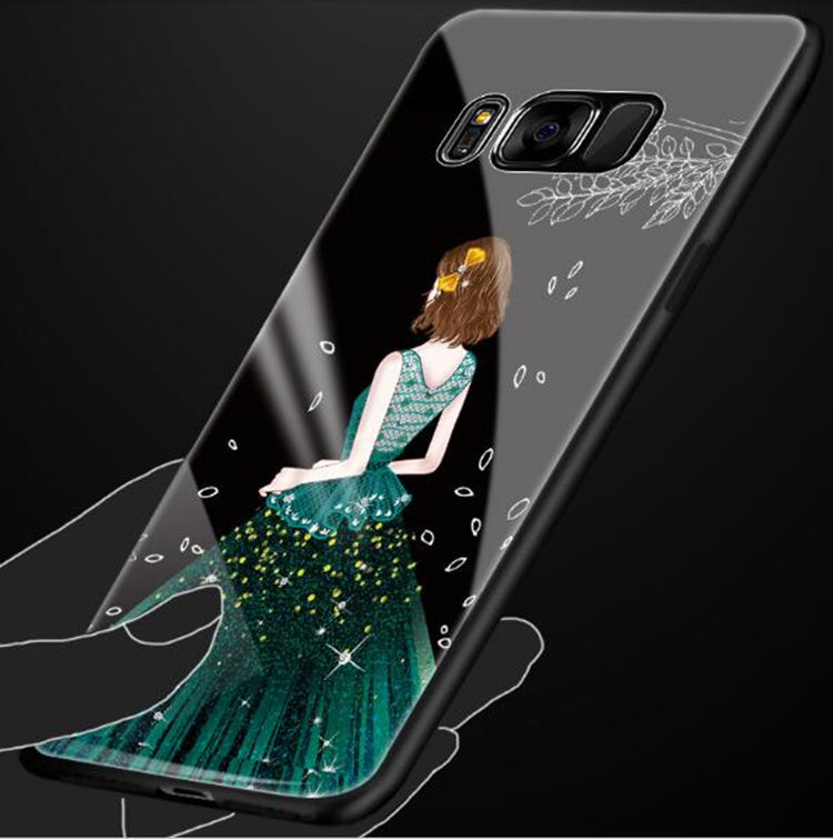 Galaxy S8 Plus ケース ギャラクシー S8 プラスケース SC-03J/SCV35 サンスム スマホケース 背面カバー TPU ガラスケース 女の子 おしゃれ_画像2