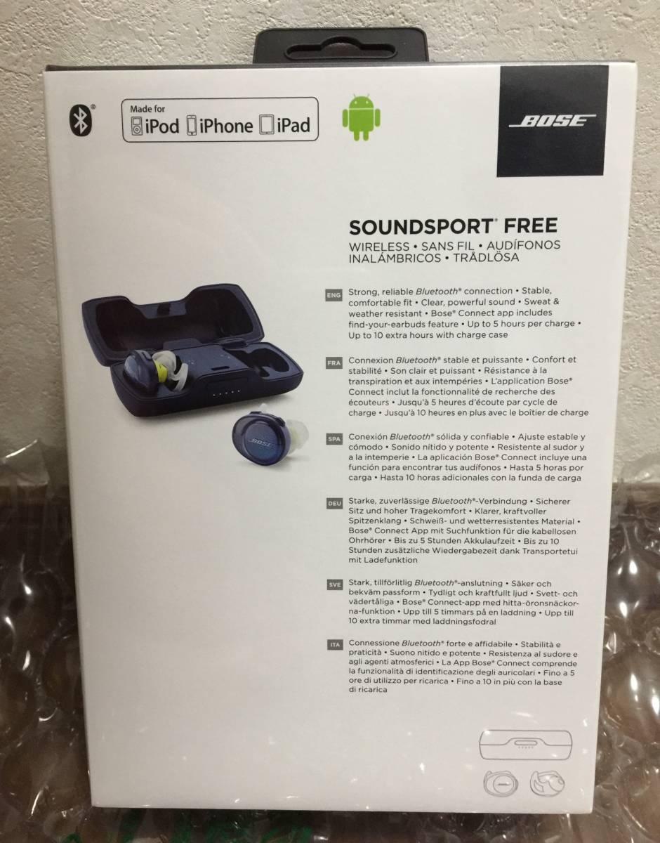 新品 国内正規品 Bose SoundSport Free wireless headphones 完全ワイヤレス Bluetooth イヤホン ミッドナイトブルー/イエローシトロン_画像2