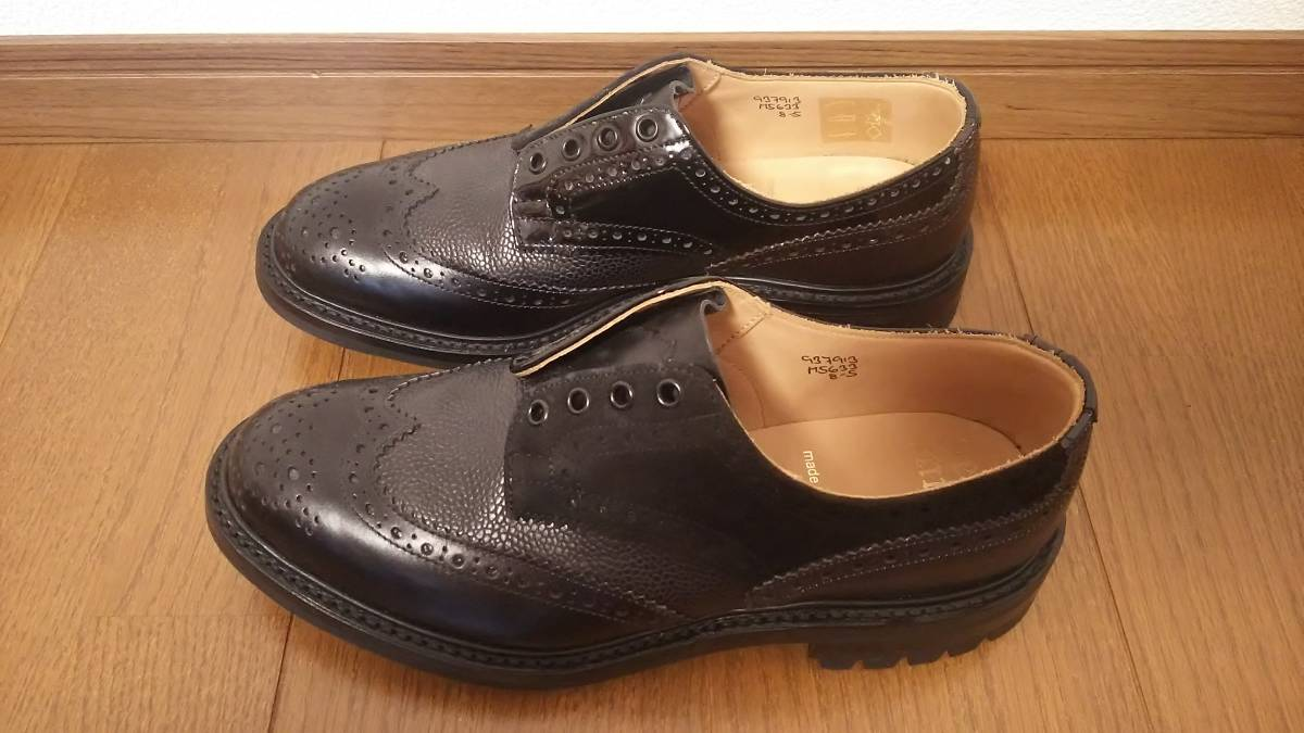 Nepenthes x Tricker's Engineered Garments  Multi-Tone Brogue - Men  Color:Blacks  Size:8  試着程度の未使用品 箱付き _画像4