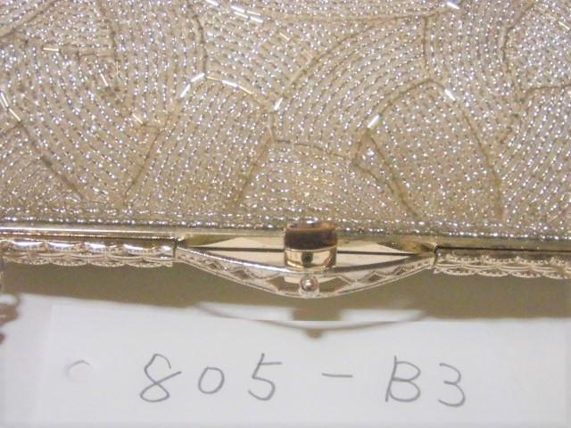 銀ビーズのモダンな組み模様のフォーマルバッグ_画像5