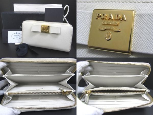1c668fd29882 [USED] PRADA プラダ ラウンドファスナー 長財布 サフィアーノ リボン 1ML506 ホワイト 白 ゴールド D1618XISCXP