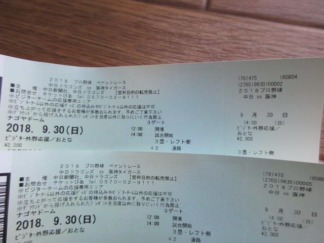★阪神タイガース対中日ドラゴンズ★ナゴヤドーム・9月30日(日)ビジター外野応援席・大人2枚