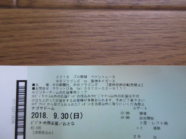 ★阪神タイガース対中日ドラゴンズ★ナゴヤドーム・9月30日(日)ビジター外野応援席・大人2枚_画像5