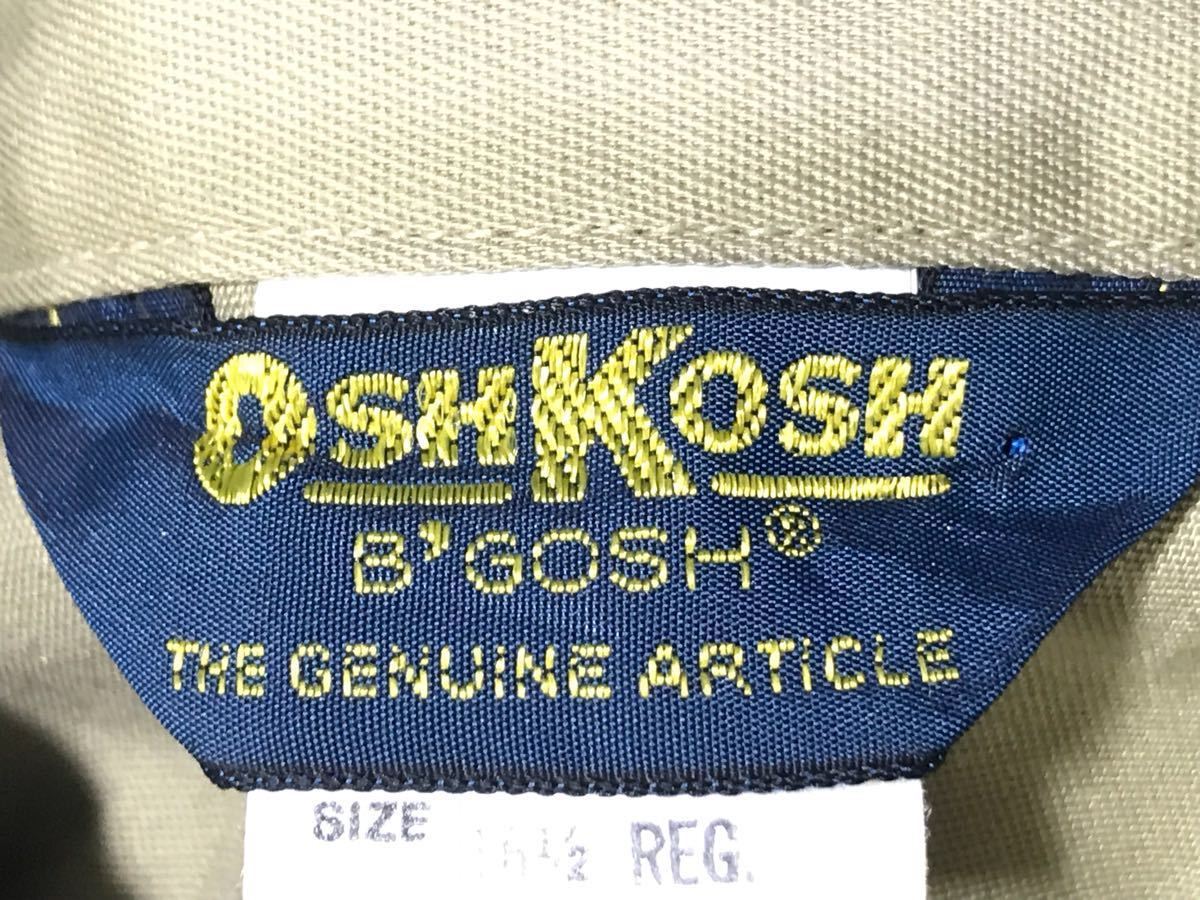 送料250円 超美品 USA製 OSHKOSH オシュコシュ カーキベージュ 長袖ワークシャツ 16 1/2 日本メンズ2L~3L位/大きいサイズ 1000円スタート_画像8