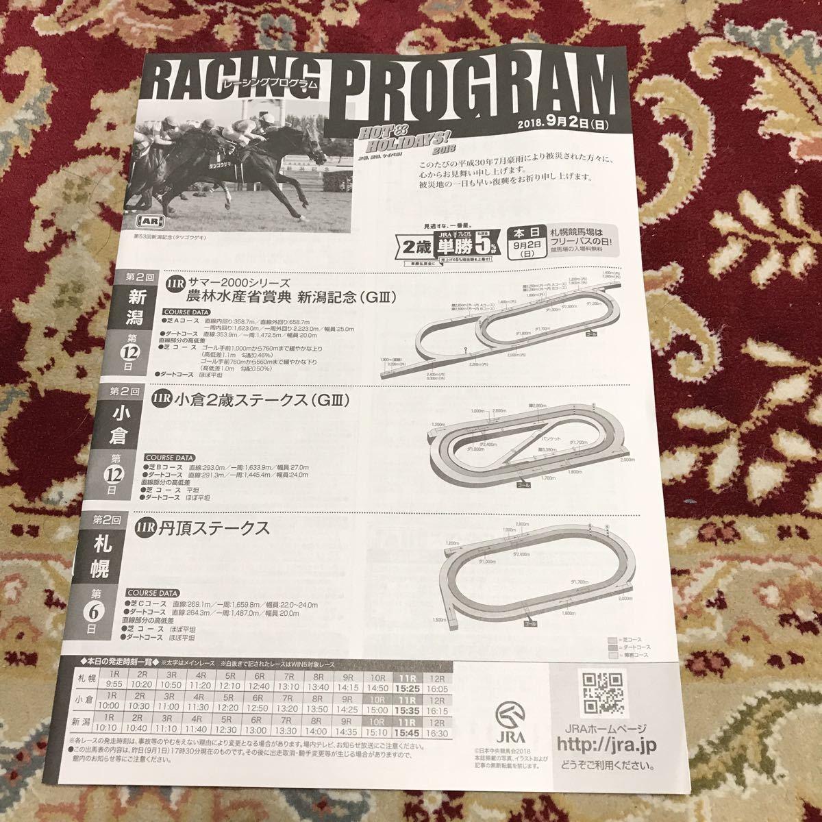 JRAレーシングプログラム2018.9月2日(日)新潟記念(GⅢ)、小倉2歳ステークス(GⅢ)、丹頂ステークス_画像1