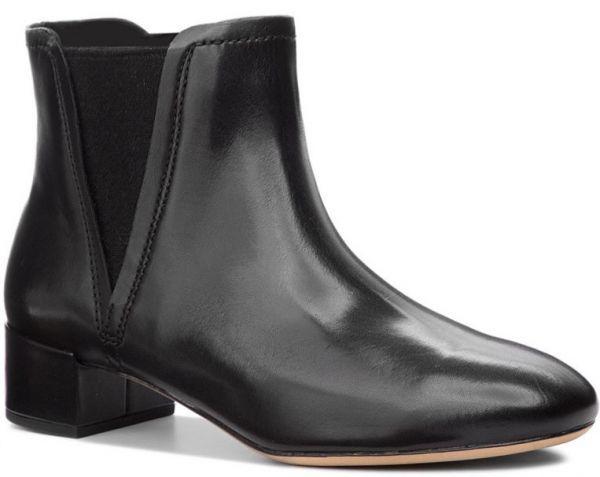 Clarks 22.5cm ブーツ ブラック 黒 サイドゴア レザー 革 チェルシー アンクル ブーティー パンプス フォーマル バレエ AA62_画像7