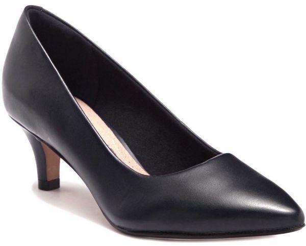 Clarks 25.5cm パンプス ロー キトゥン ヒール ブラック 黒 フォーマル レザー 革 アンクル バレエ ブーツ ブーティー バレエ AA59_画像1