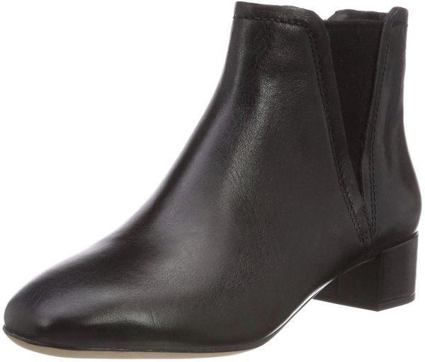 Clarks 22.5cm ブーツ ブラック 黒 サイドゴア レザー 革 チェルシー アンクル ブーティー パンプス フォーマル バレエ AA62_画像5