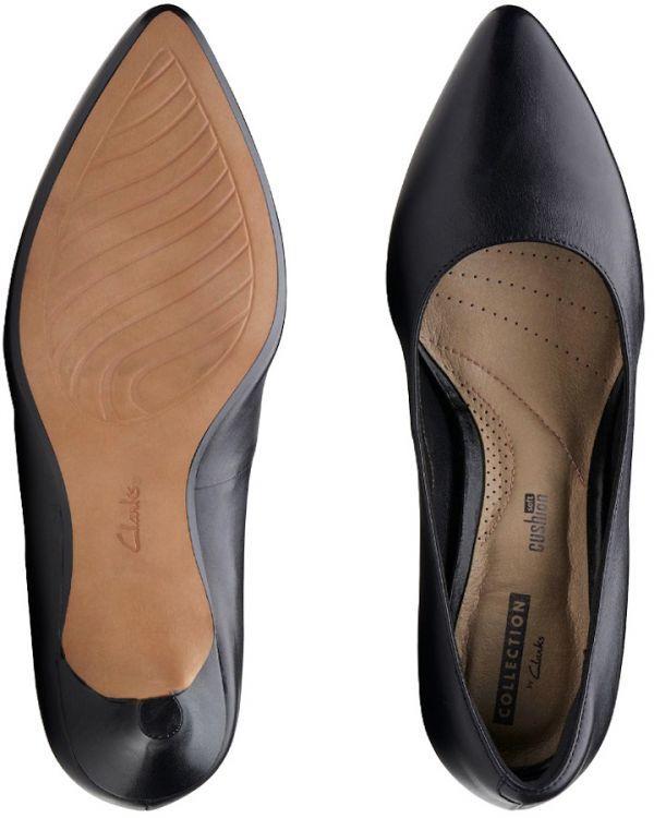 Clarks 25.5cm パンプス ロー キトゥン ヒール ブラック 黒 フォーマル レザー 革 アンクル バレエ ブーツ ブーティー バレエ AA59_画像10