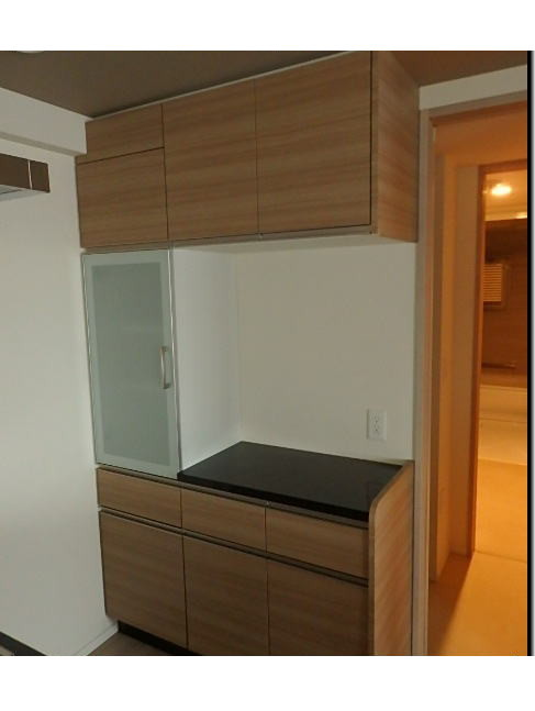 タカラスタンダード キッチン収納 バックキャビネット 石天板 W1220 H2180 展示品_画像1