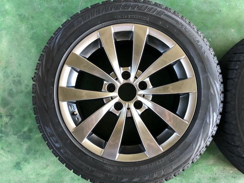 ブリヂストン レボGZ 17インチ 8J +30 5穴 PCD120 225/55R17 4本セット BMW 5シリーズ E60 E61 F10 F11 MOTEC モーテック スタッドレス_画像1
