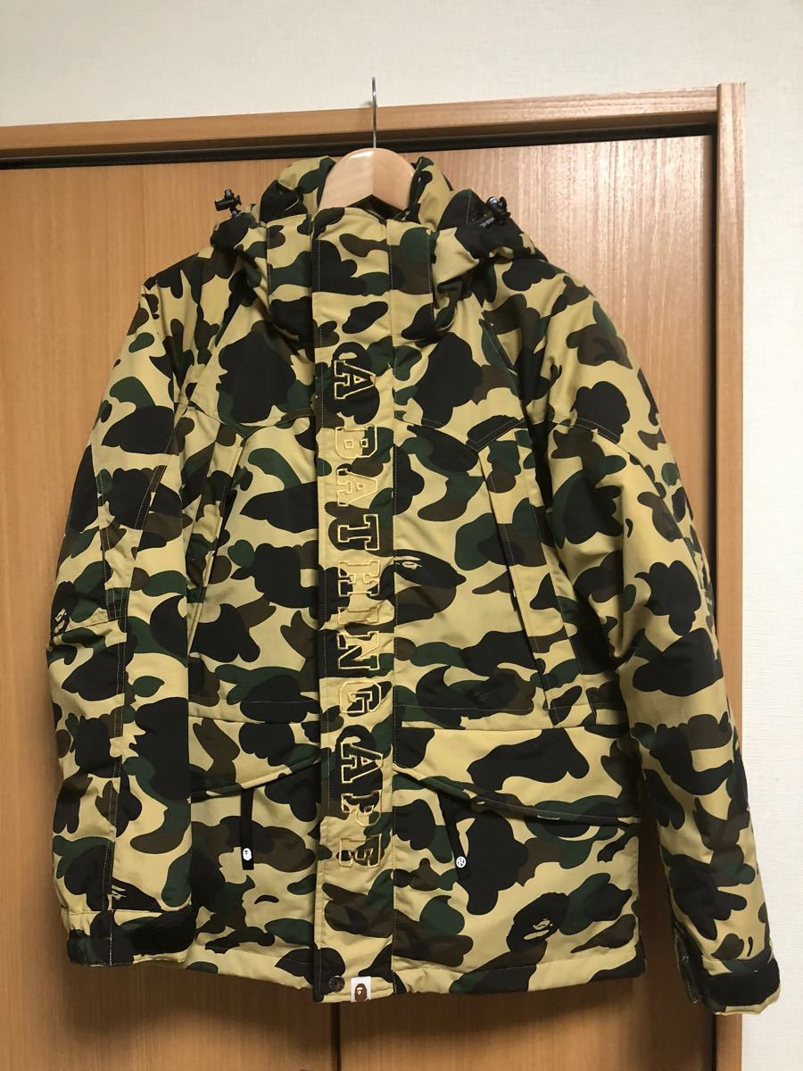 2ef2bd0f491e5 A BATHING APE 1ST CAMO SNOWBOARD DOWN JACKET M military jacket MEDIUM  yellow new goods trying on only