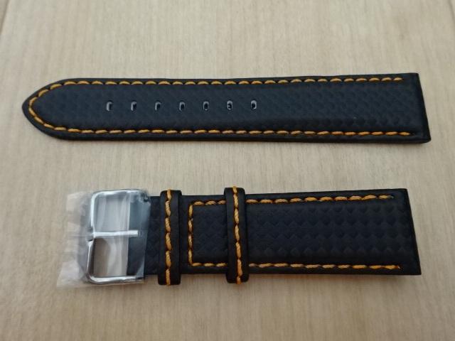 腕時計用ベルト カーボン柄ラバー 裏面レザー 22mm 黒/オレンジステッチ シルバーバックル バンド_画像1