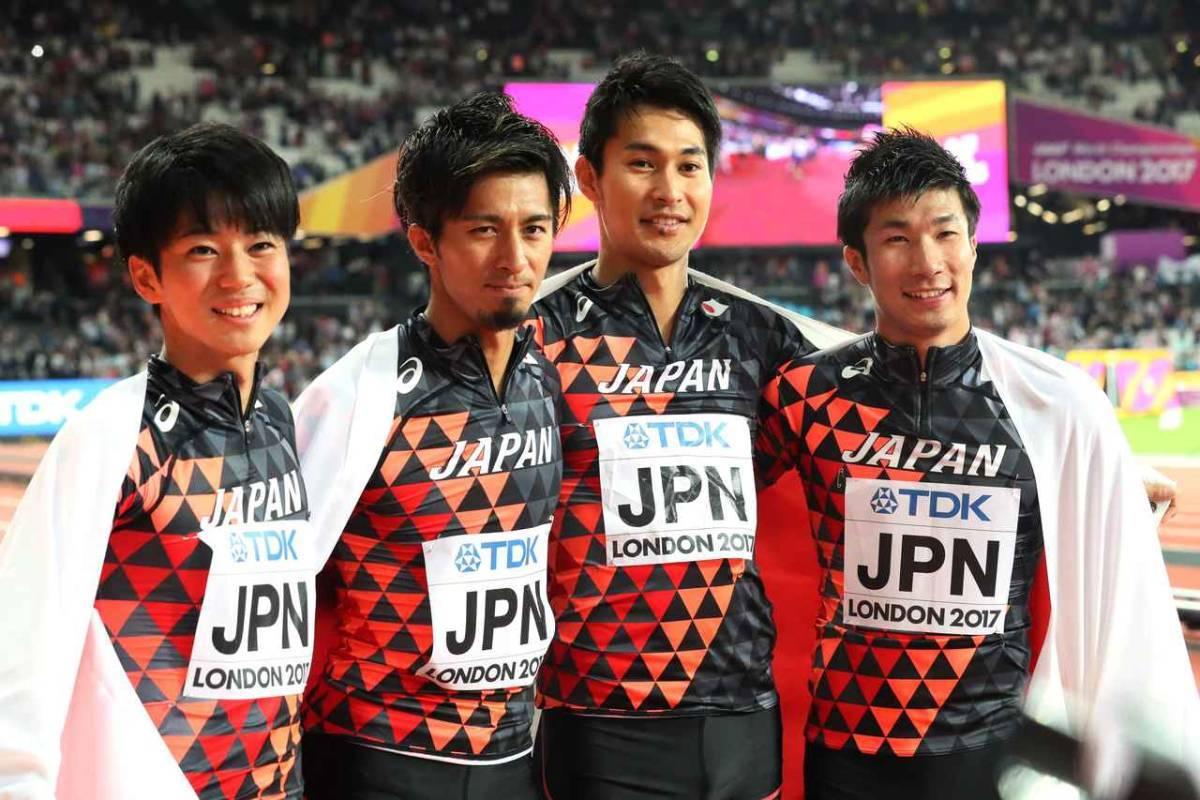 2017 世界陸上ロンドン 陸上競技 日本代表 JAAFオフィシャル×asicsアシックス オーセンティックTシャツ ブラック×サンライズレッド格子 S_画像6