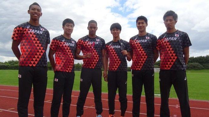 2017 世界陸上ロンドン 陸上競技 日本代表 JAAFオフィシャル×asicsアシックス オーセンティックTシャツ ブラック×サンライズレッド格子 S_画像7