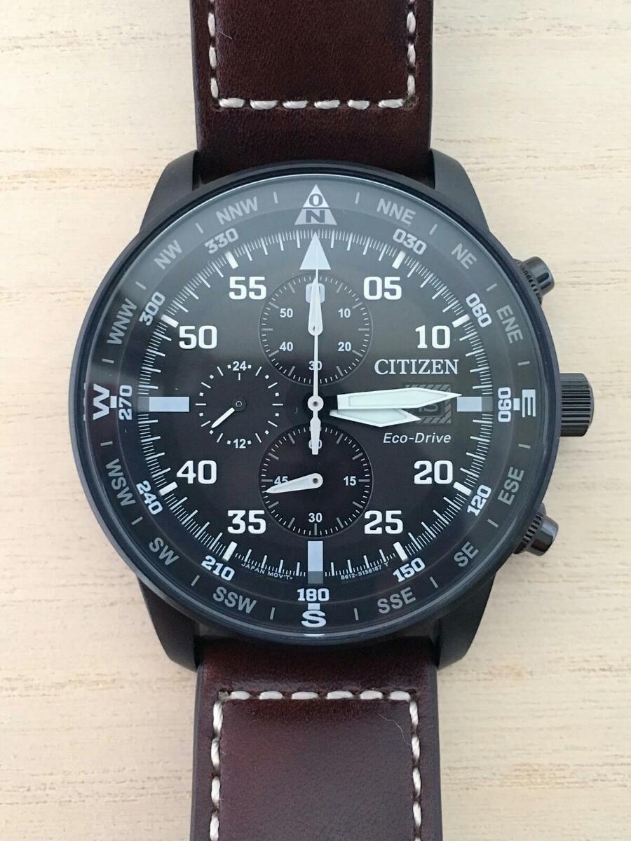 新品 CITIZEN シチズン エコ・ドライブ パイロット 100m レザー CA0695-17E クロノグラフ Pilot's 黒 Eco-Drive