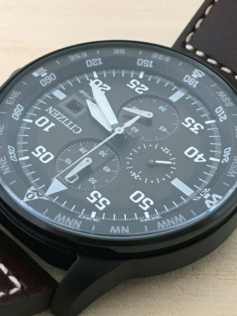 新品 CITIZEN シチズン エコ・ドライブ パイロット 100m レザー CA0695-17E クロノグラフ Pilot's 黒 Eco-Drive_画像4