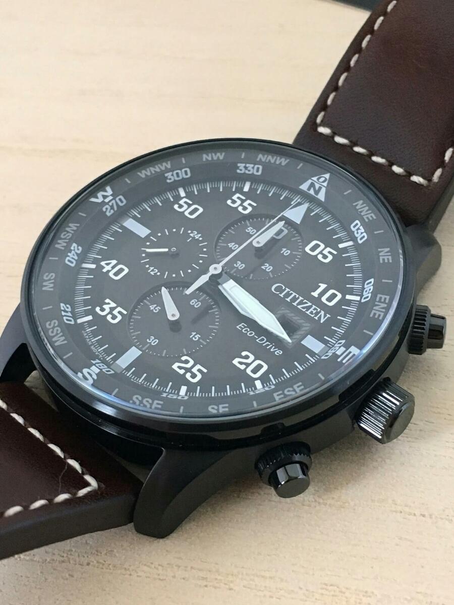 新品 CITIZEN シチズン エコ・ドライブ パイロット 100m レザー CA0695-17E クロノグラフ Pilot's 黒 Eco-Drive_画像2
