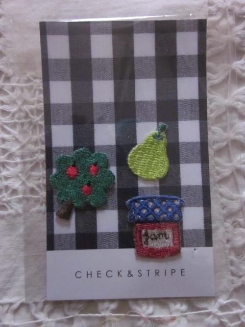 CHECK&STRIPE購入●かわいい*アイロンでくっつく!小さなオリジナル・アップリケ3種セット*リンゴの木&洋ナシ&ジャム*送料63円~_画像1