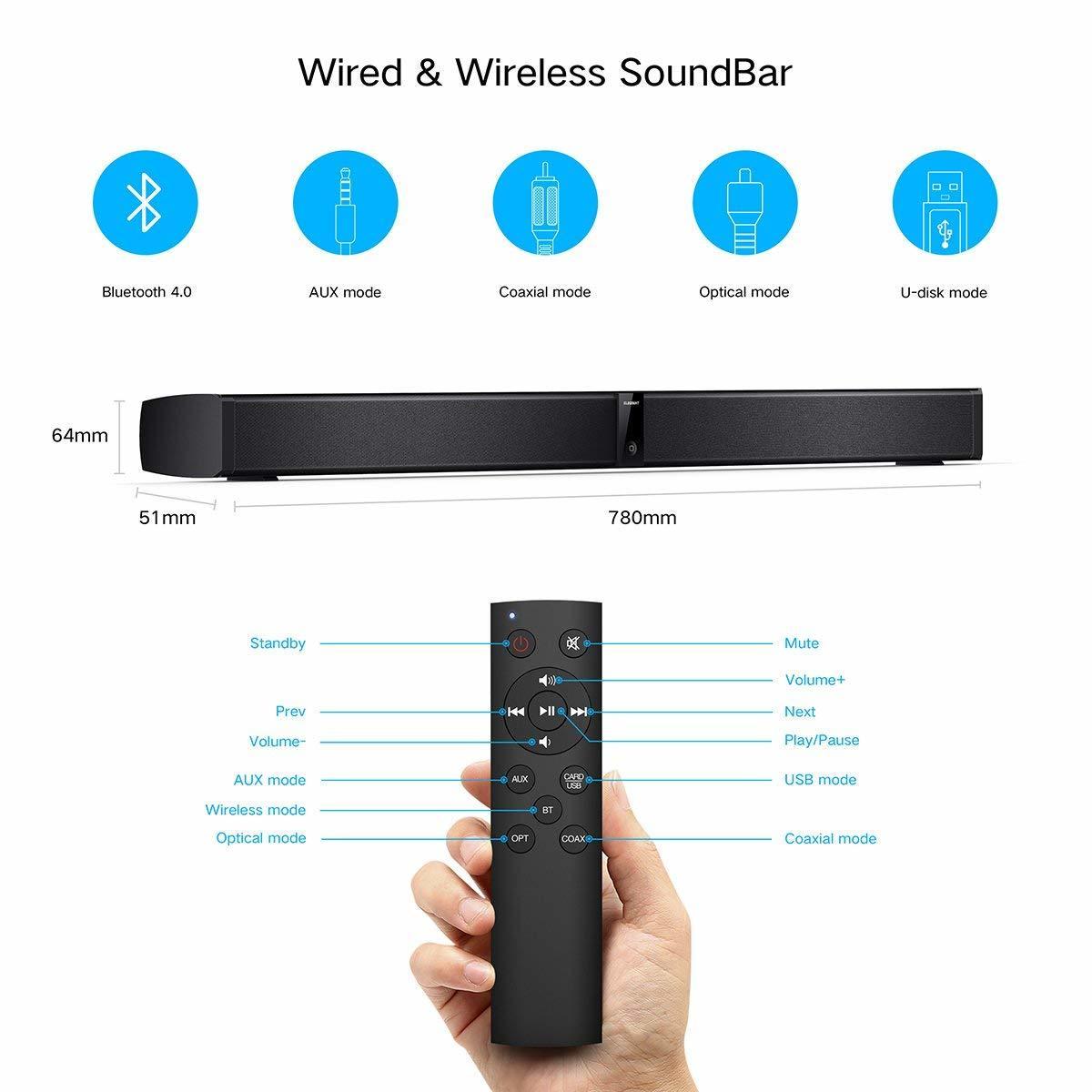 サウンドバー スピーカー ホームシアターシステム ワイヤレス フロントサラウンドシステム Bluetooth 高音質 重低音30W テレビ PC USB _画像4