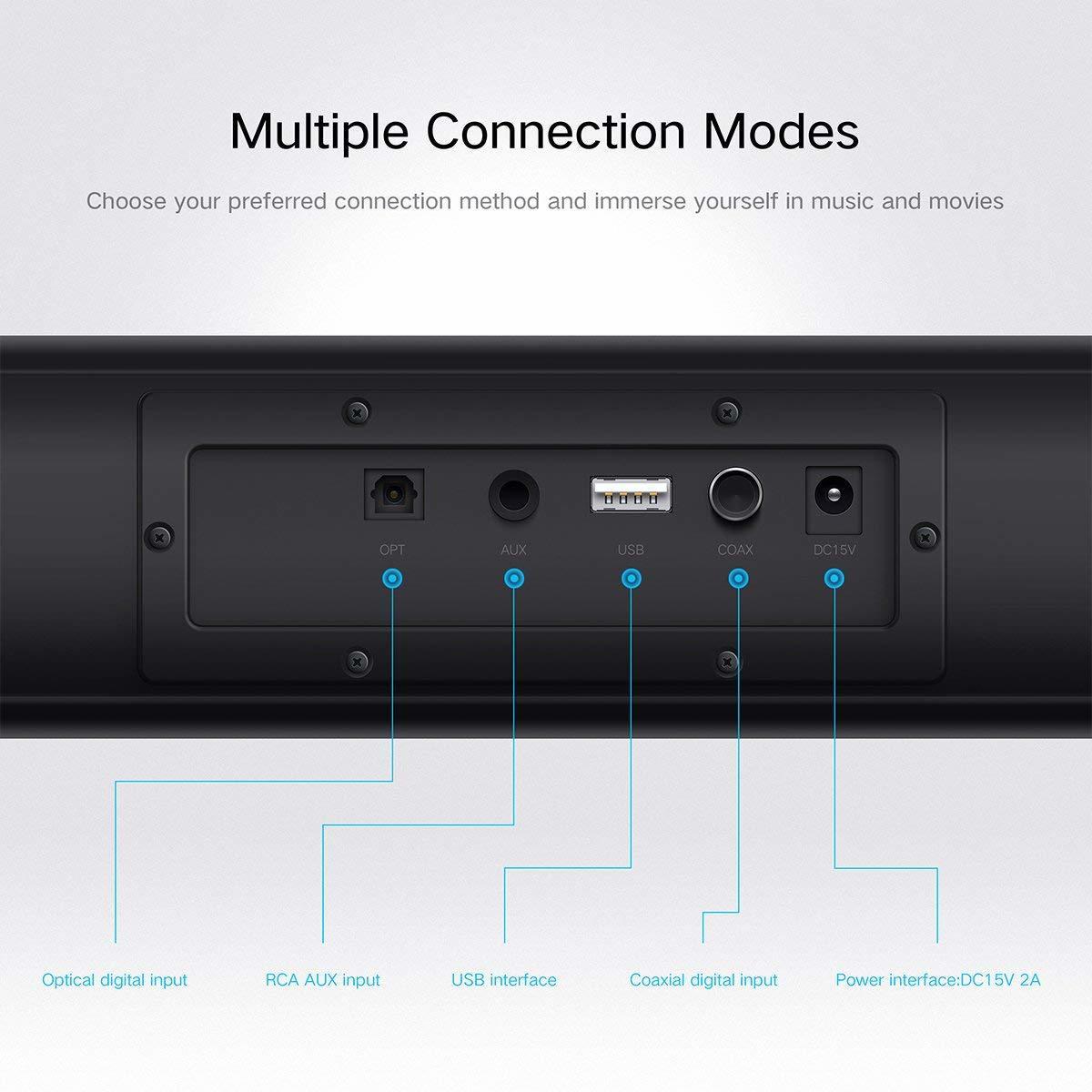 サウンドバー スピーカー ホームシアターシステム ワイヤレス フロントサラウンドシステム Bluetooth 高音質 重低音30W テレビ PC USB _画像8