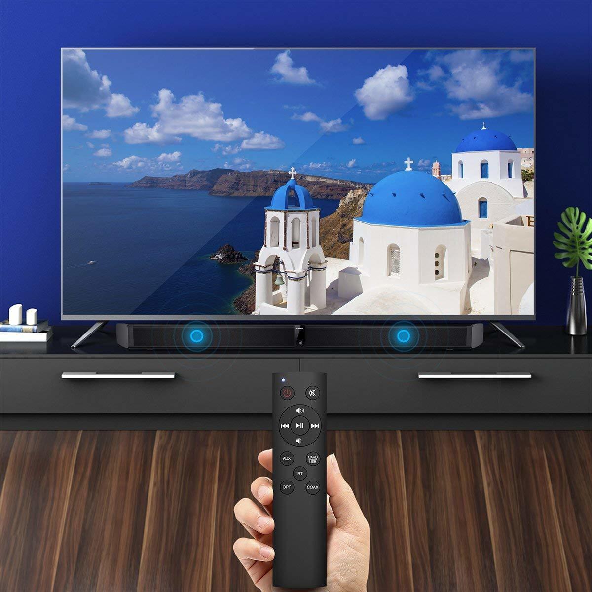 サウンドバー スピーカー ホームシアターシステム ワイヤレス フロントサラウンドシステム Bluetooth 高音質 重低音30W テレビ PC USB _画像2