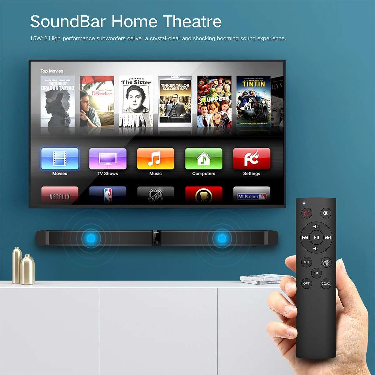 サウンドバー スピーカー ホームシアターシステム ワイヤレス フロントサラウンドシステム Bluetooth 高音質 重低音30W テレビ PC USB _画像3