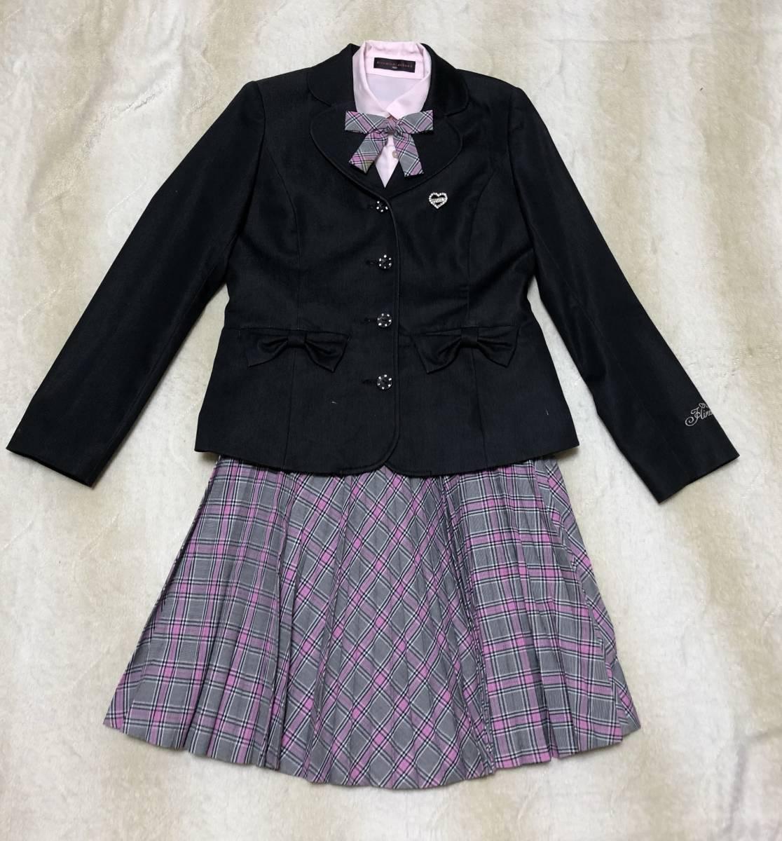 a8d935721ee8d ヒロミチナカノ☆女の子 フォーマル スーツ 4点セット 160 ジャケット スカート ブラウス リボン 卒業