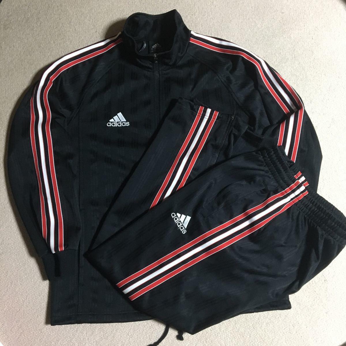 adidas アディダス / ジャージ ジャケット・パンツ 上・下セット / サイズ L / 黒×赤・黒・白ライン