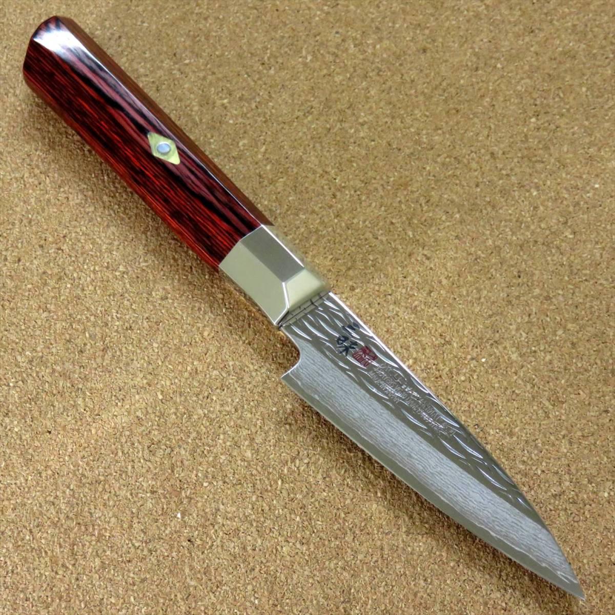 関の刃物 パーリングナイフ 9cm (90mm) 三昧 波目 ダマスカス33層 VG-10 ステンレス 赤合板 果物の皮剥き 種子を除去 両刃小型包丁 日本製_画像1