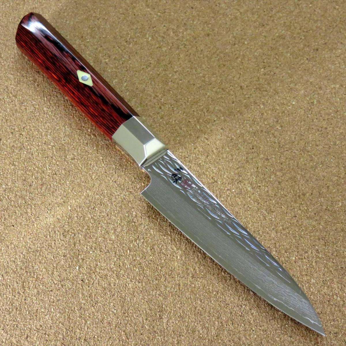関の刃物 ペティナイフ 11cm (110mm) 三昧 波目 ダマスカス33層 VG-10 ステンレス 赤合板 果物包丁 皮むき 野菜 小型両刃ナイフ 国産日本製_画像1