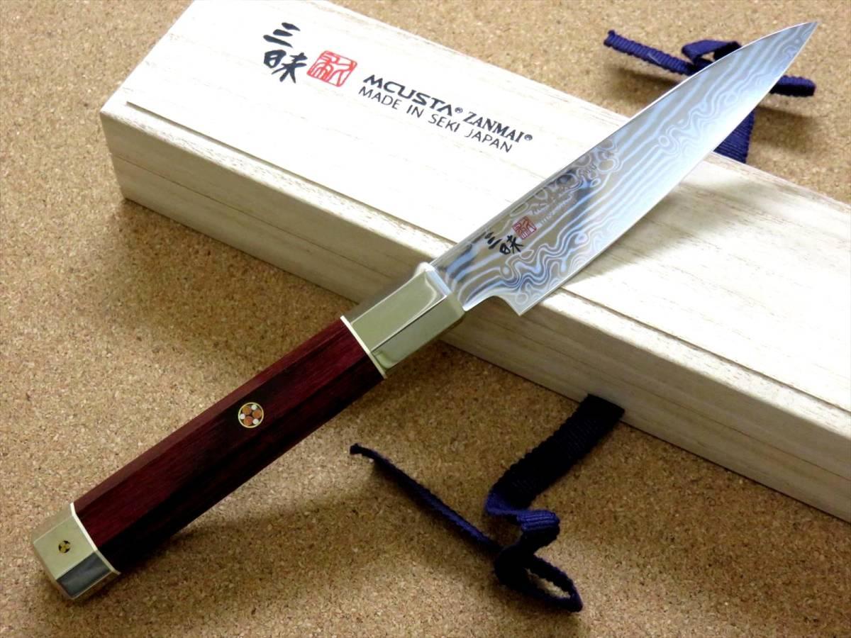 関の刃物 ペティナイフ 11cm (110mm) 三昧 荒波 VG-10 VG-2 コアレス鋼ステンレス 赤合板 果物包丁 皮むき 野菜 小型両刃ナイフ 国産日本製_画像2