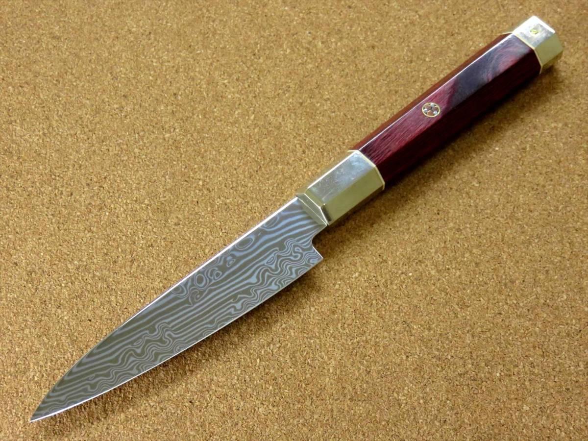 関の刃物 ペティナイフ 11cm (110mm) 三昧 荒波 VG-10 VG-2 コアレス鋼ステンレス 赤合板 果物包丁 皮むき 野菜 小型両刃ナイフ 国産日本製_画像3