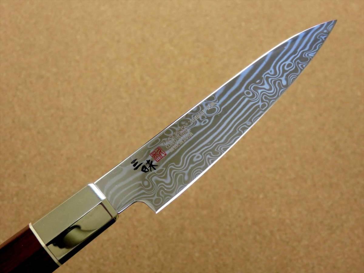 関の刃物 ペティナイフ 11cm (110mm) 三昧 荒波 VG-10 VG-2 コアレス鋼ステンレス 赤合板 果物包丁 皮むき 野菜 小型両刃ナイフ 国産日本製_画像4