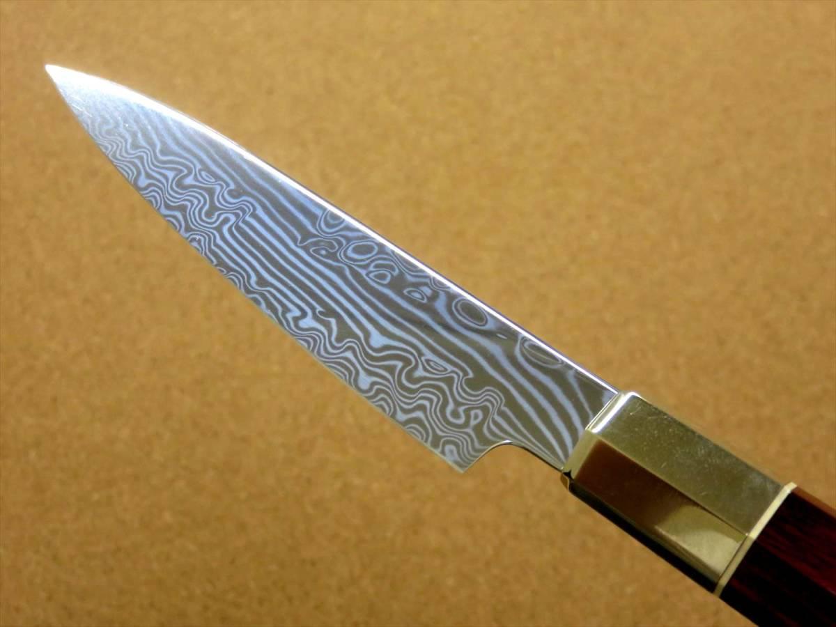 関の刃物 ペティナイフ 11cm (110mm) 三昧 荒波 VG-10 VG-2 コアレス鋼ステンレス 赤合板 果物包丁 皮むき 野菜 小型両刃ナイフ 国産日本製_画像5