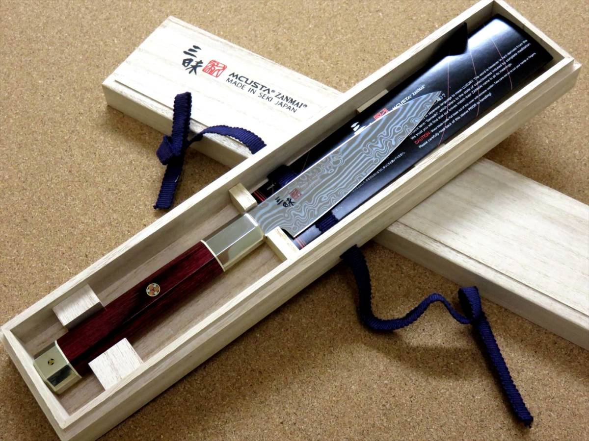 関の刃物 ペティナイフ 11cm (110mm) 三昧 荒波 VG-10 VG-2 コアレス鋼ステンレス 赤合板 果物包丁 皮むき 野菜 小型両刃ナイフ 国産日本製_画像10
