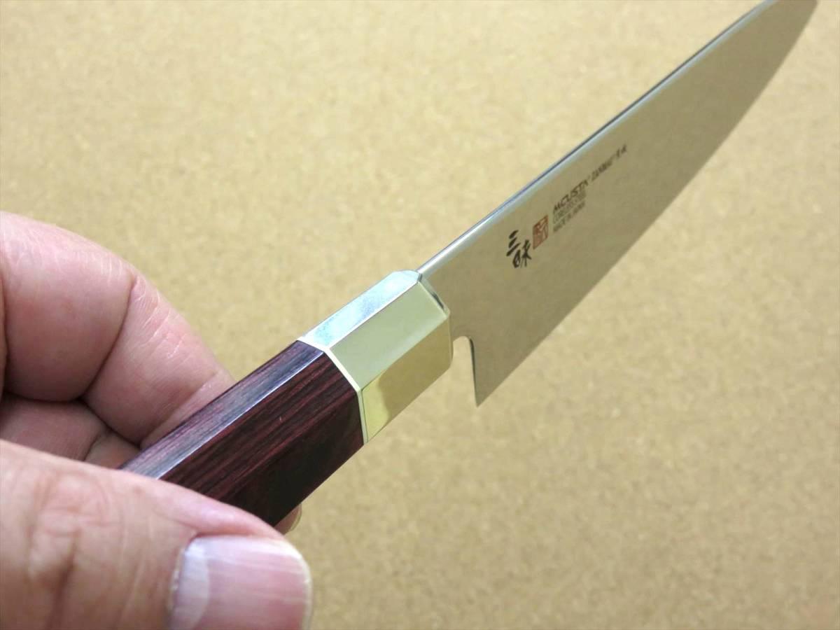 関の刃物 牛刀 18cm (180mm) 三昧 荒波 VG-10 VG-2 コアレス鋼ステンレス 赤合板 精肉の仕分け 魚の処理 野菜切りなど 両刃万能包丁 日本製_画像7