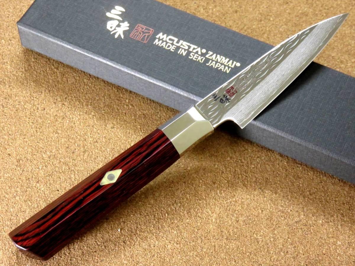 関の刃物 パーリングナイフ 9cm (90mm) 三昧 波目 ダマスカス33層 VG-10 ステンレス 赤合板 果物の皮剥き 種子を除去 両刃小型包丁 日本製_画像2