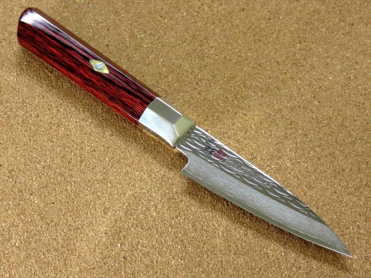 関の刃物 パーリングナイフ 9cm (90mm) 三昧 波目 ダマスカス33層 VG-10 ステンレス 赤合板 果物の皮剥き 種子を除去 両刃小型包丁 日本製_画像3