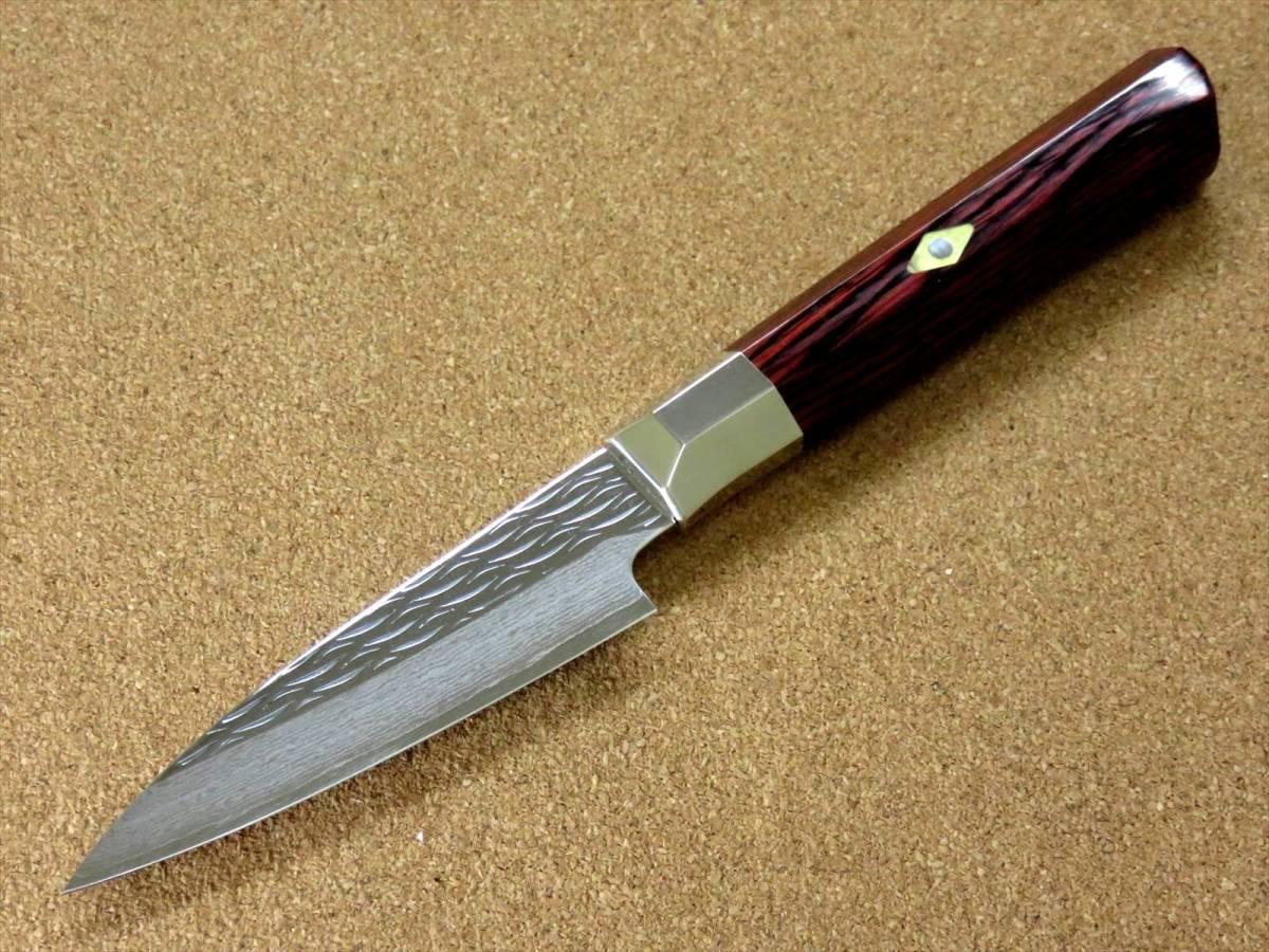 関の刃物 パーリングナイフ 9cm (90mm) 三昧 波目 ダマスカス33層 VG-10 ステンレス 赤合板 果物の皮剥き 種子を除去 両刃小型包丁 日本製_画像4