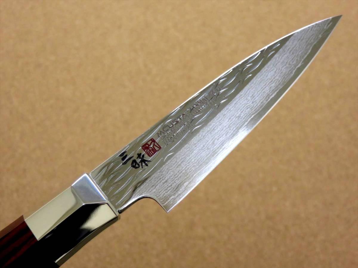 関の刃物 パーリングナイフ 9cm (90mm) 三昧 波目 ダマスカス33層 VG-10 ステンレス 赤合板 果物の皮剥き 種子を除去 両刃小型包丁 日本製_画像5