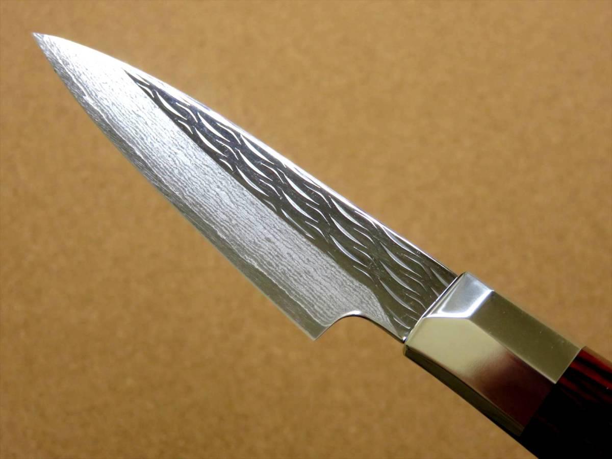 関の刃物 パーリングナイフ 9cm (90mm) 三昧 波目 ダマスカス33層 VG-10 ステンレス 赤合板 果物の皮剥き 種子を除去 両刃小型包丁 日本製_画像6
