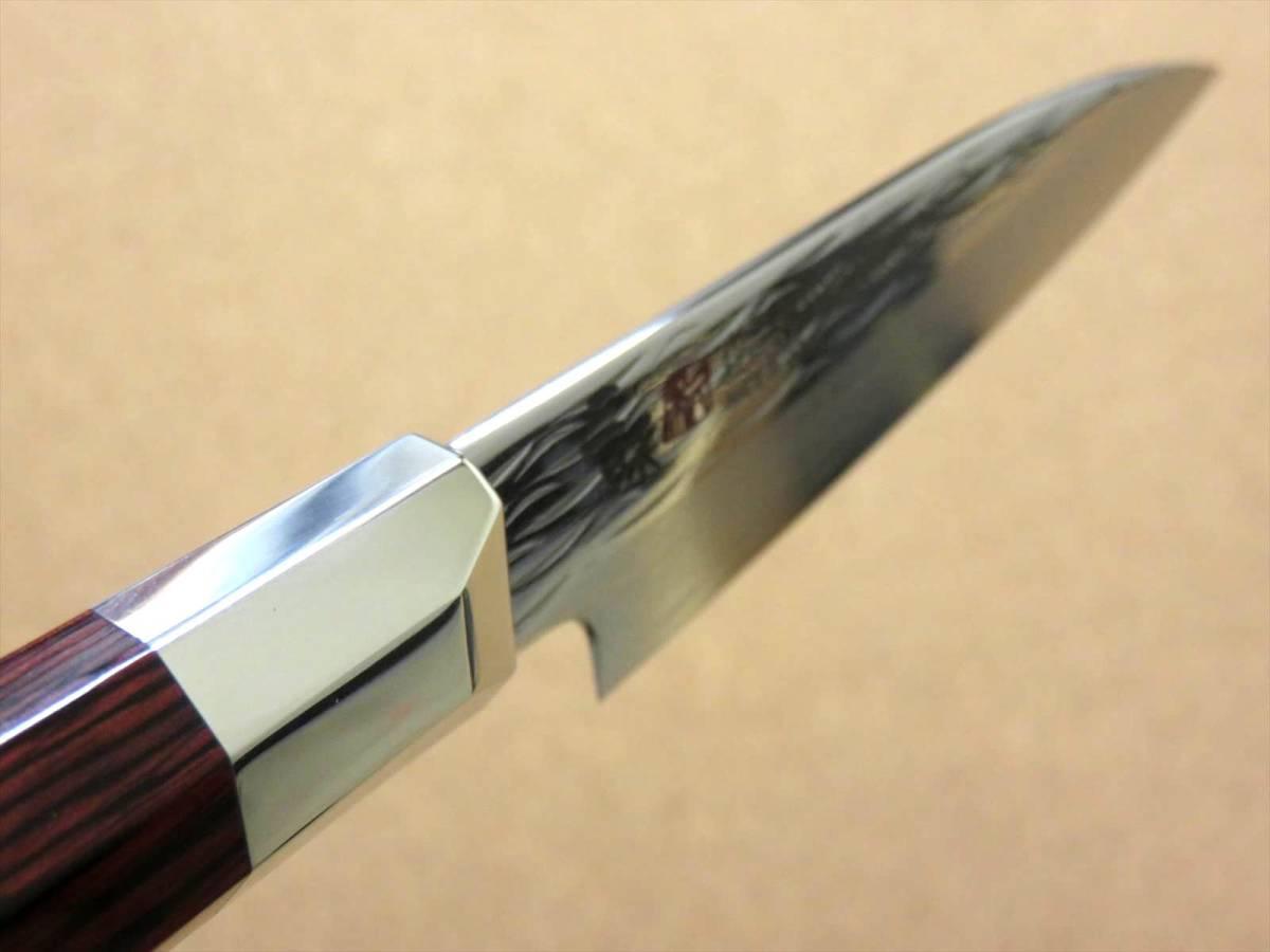 関の刃物 パーリングナイフ 9cm (90mm) 三昧 波目 ダマスカス33層 VG-10 ステンレス 赤合板 果物の皮剥き 種子を除去 両刃小型包丁 日本製_画像8