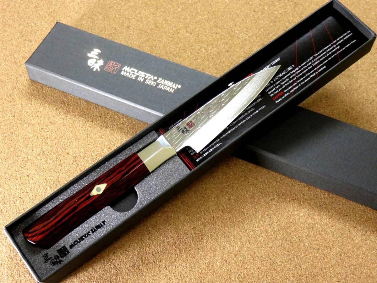 関の刃物 パーリングナイフ 9cm (90mm) 三昧 波目 ダマスカス33層 VG-10 ステンレス 赤合板 果物の皮剥き 種子を除去 両刃小型包丁 日本製_画像10