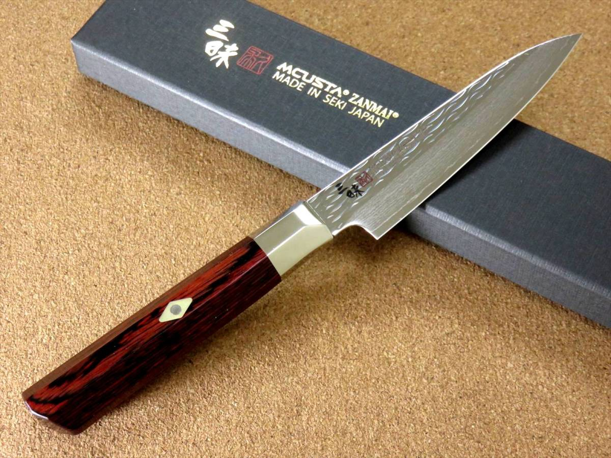 関の刃物 ペティナイフ 11cm (110mm) 三昧 波目 ダマスカス33層 VG-10 ステンレス 赤合板 果物包丁 皮むき 野菜 小型両刃ナイフ 国産日本製_画像2