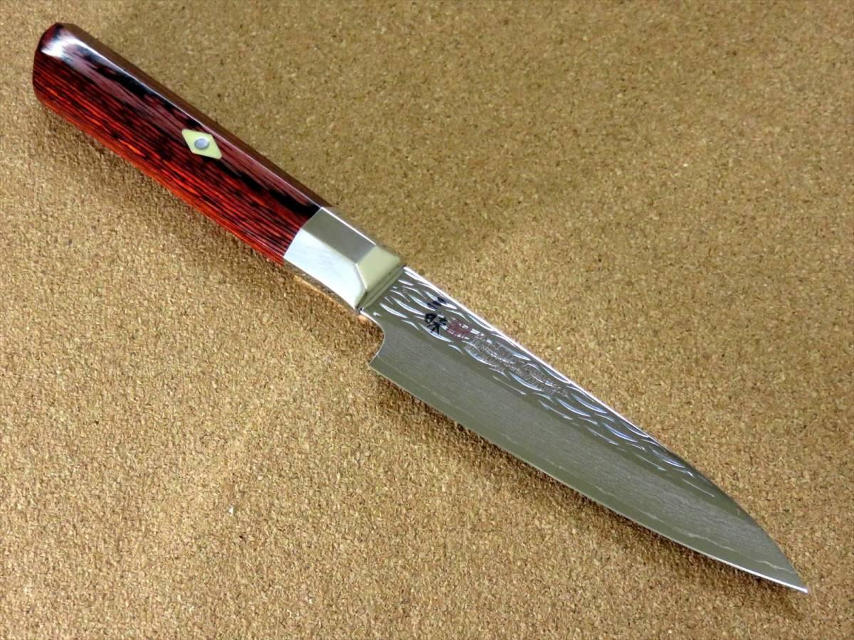 関の刃物 ペティナイフ 11cm (110mm) 三昧 波目 ダマスカス33層 VG-10 ステンレス 赤合板 果物包丁 皮むき 野菜 小型両刃ナイフ 国産日本製_画像3