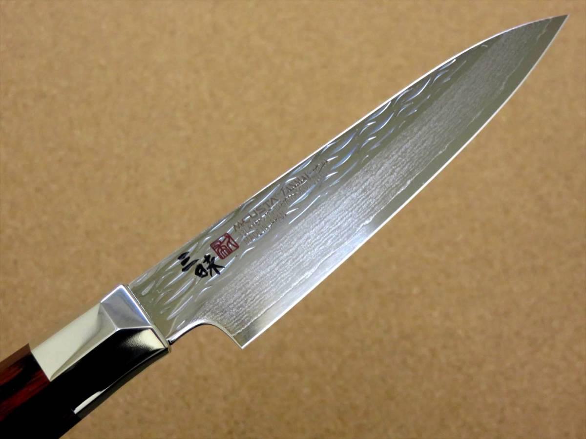 関の刃物 ペティナイフ 11cm (110mm) 三昧 波目 ダマスカス33層 VG-10 ステンレス 赤合板 果物包丁 皮むき 野菜 小型両刃ナイフ 国産日本製_画像5