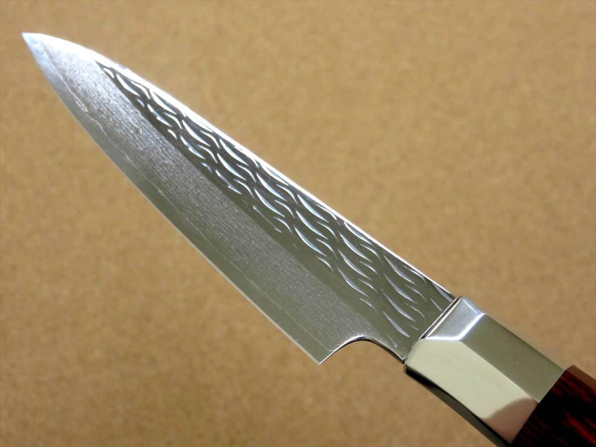 関の刃物 ペティナイフ 11cm (110mm) 三昧 波目 ダマスカス33層 VG-10 ステンレス 赤合板 果物包丁 皮むき 野菜 小型両刃ナイフ 国産日本製_画像6